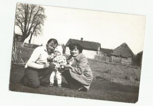 Zofia Listosz with her parents after war