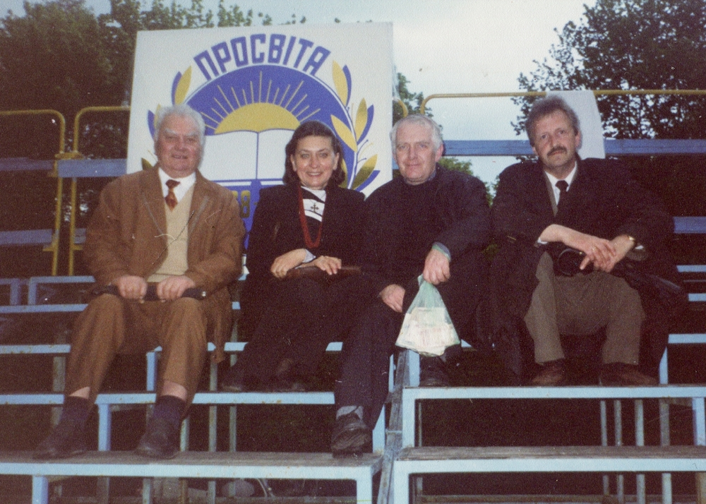 Stepan Horechyi (on the far right) with his colleagues from the Prosvita society. Lviv, May 5, 2000.
